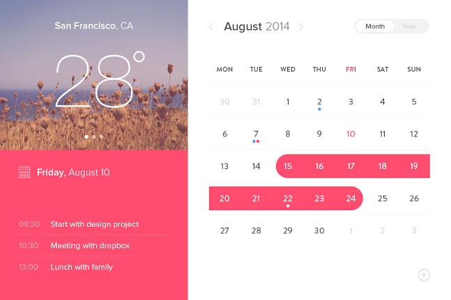 Event Calendar Widget Ui Design Free Psd  Ui