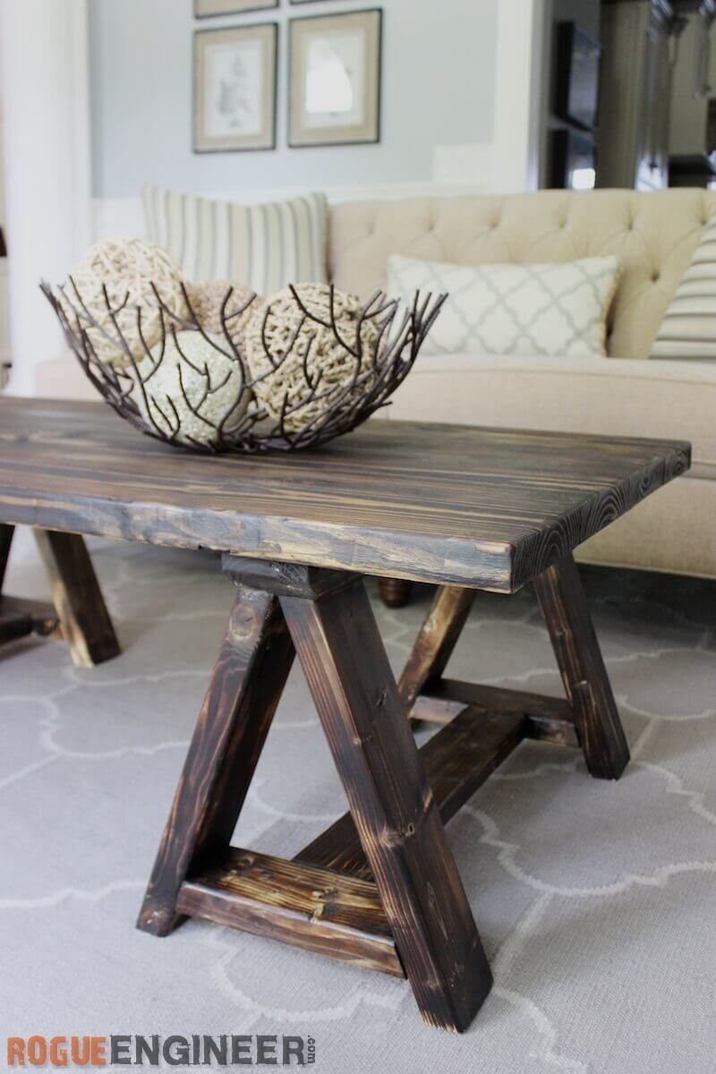 Sawhorse coffee table free diy plans mesas muebles de for Muebles pales