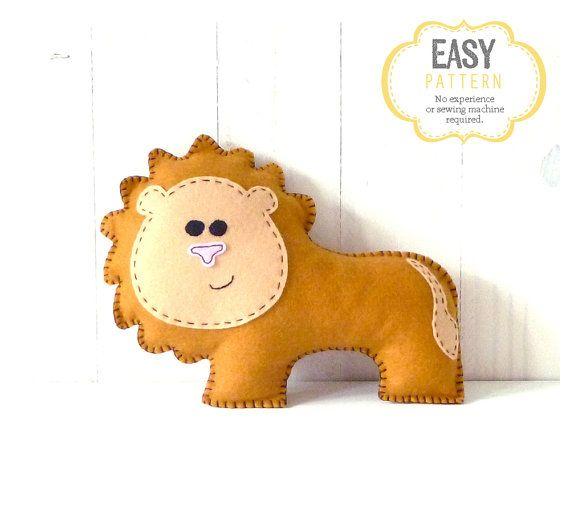 Lion Stuffed Animal Sewing Pattern, Plush Lion Pattern, Felt Lion ...