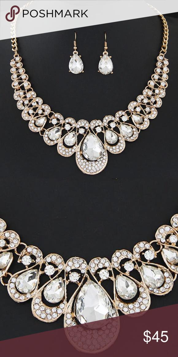 Photo of NS27 | Evening Glam Jewelry Prom Wedding Set Dainty Rhinestone Choker Necklace S…