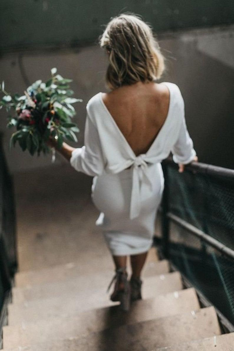 Rachel Pencil Skirt Crepe Bridal Mini Midi Skirt Etsy Wedding Dresses Simple Wedding Outfit Bohemian Wedding [ 1191 x 794 Pixel ]