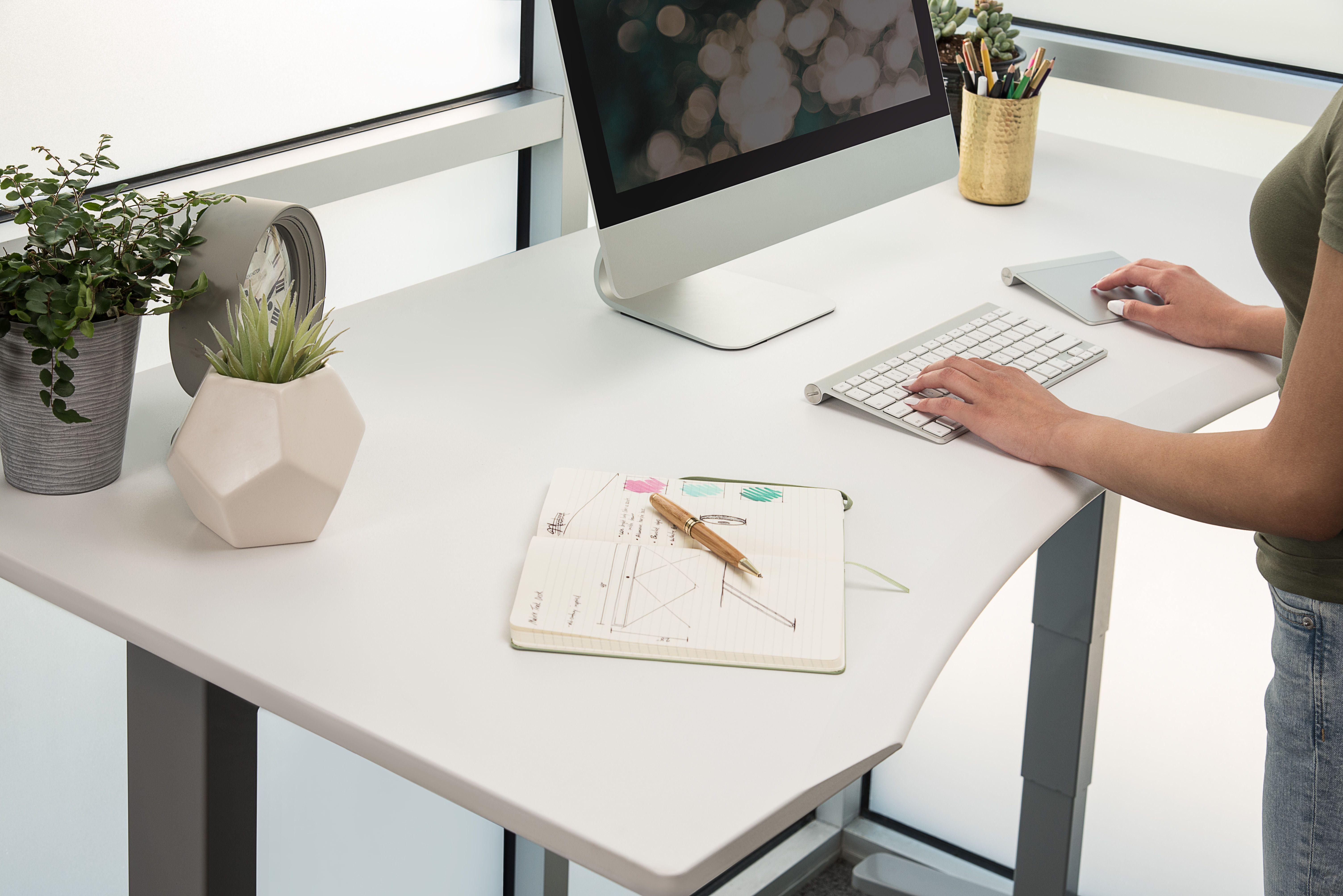 Uplift Ergo Edge Curve Standing Desk V2 V2 Commercial Sit Stand Desk Adjustable Uplift Desk Space Planning