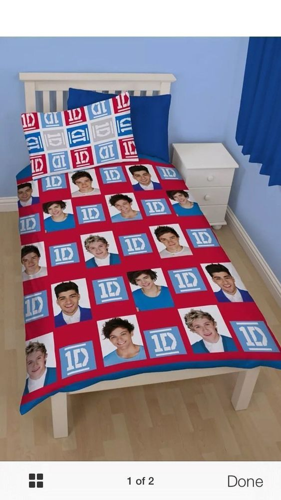 1D ONE DIRECTION DUVET SET QUILT COVER WITH PILLOW CASE SINGLE SIZE ROTARY PRINT #CharacterWorldOneDirection