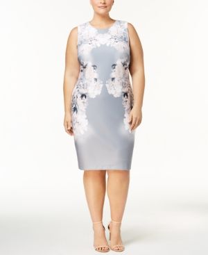 6bf81a58f0a Calvin Klein Plus Size Floral-Print Sheath Dress - Silver 14W ...
