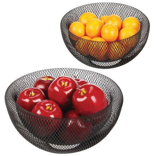 Modern Countertop Fruit Bowl Mesh Wire Basket Holders Set Of 2
