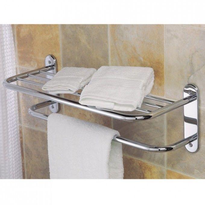 Extra Long Towel Bar With Shelf Chrome