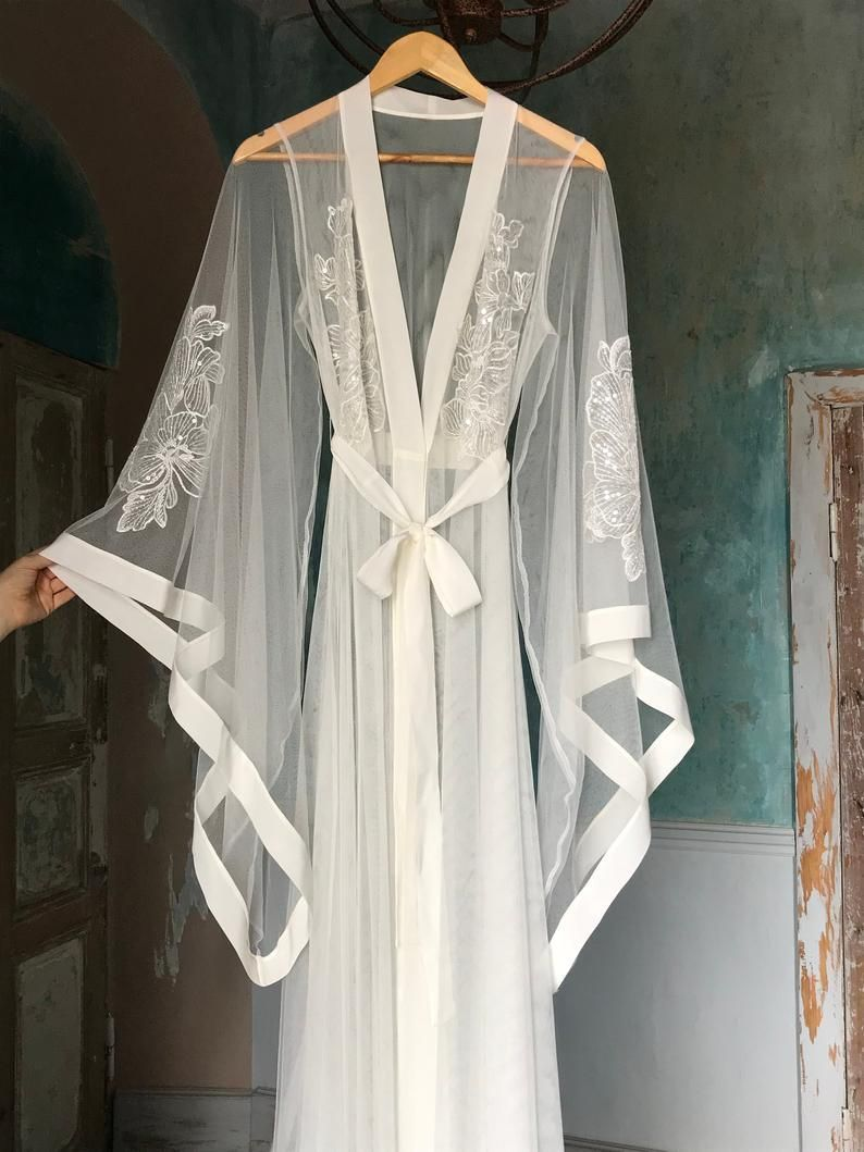 Long Sheer Bridal Robe with Embroidered Sleeves F45 Bridal | Etsy