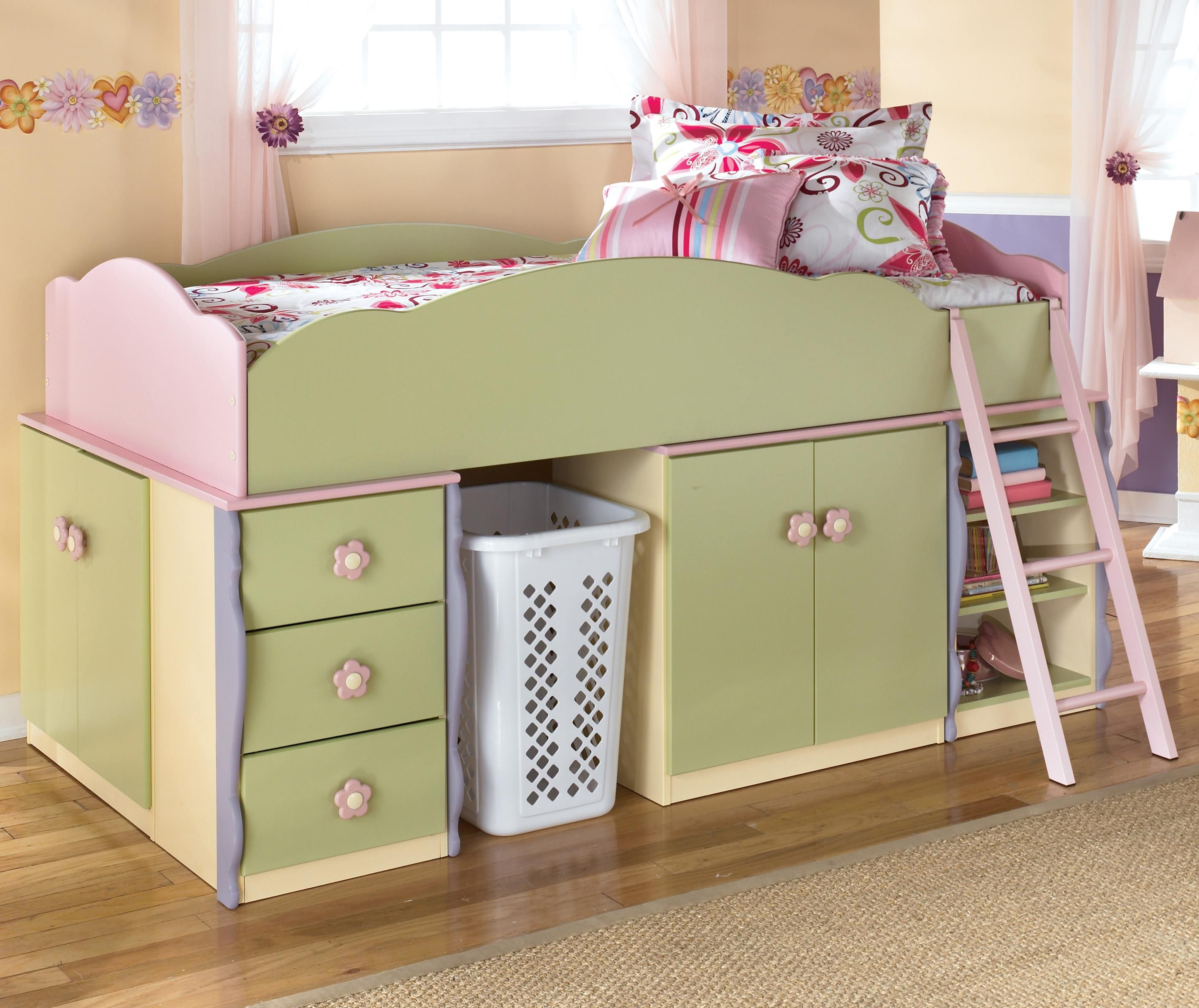 Best Doll House Loft Bed With Basket Space By Signature Design 400 x 300