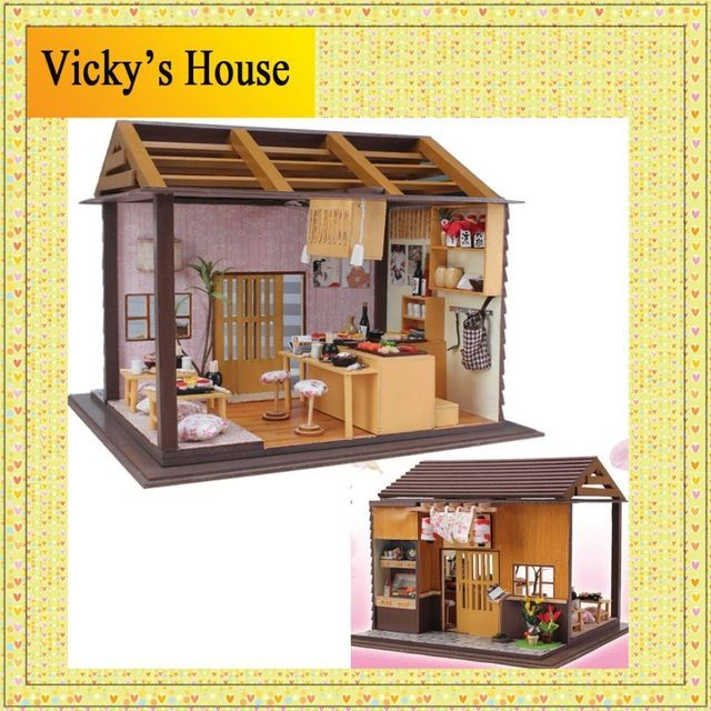 """DIY kit for a miniature sushi restaurant """"Japanese Sakura"""".   Dimensions of finished house not given."""