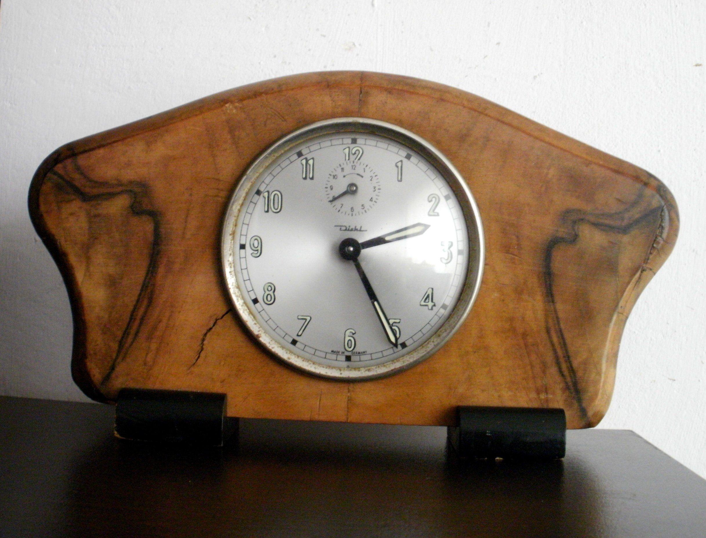 VINTAGE DIEHL alarm mantel desk clock GERMANY decor ...
