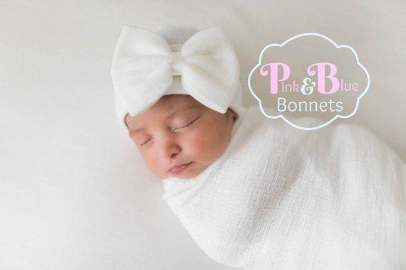 8e2474324 Baby Girl Newborn Hat with bow Newborn Baby Girl Hat baby hat | Etsy