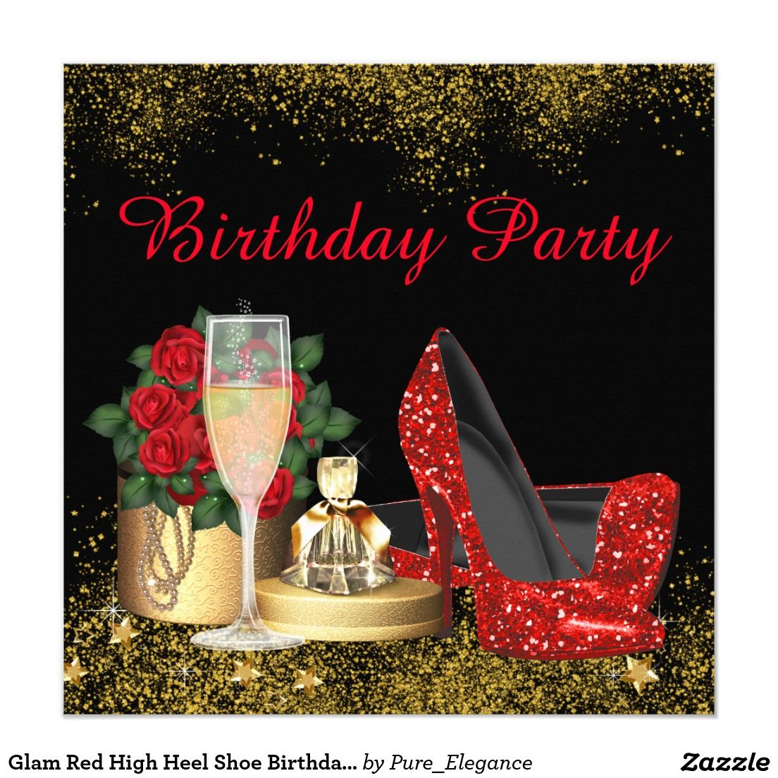 Glam Red High Heel Shoe Birthday Party Card | Womans Birthday ...