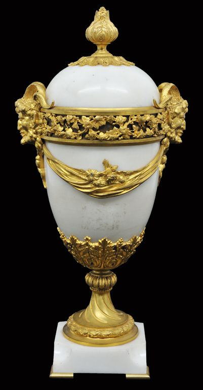 French Bronze Dore Mounted Marble Lidded Urn 19th Century