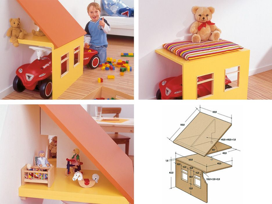 3-in-1-playhouse (doll-house, garage, bench) / german tutorial