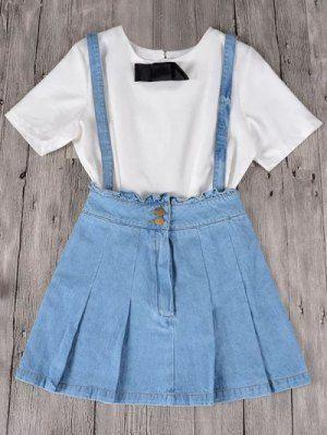 c215843d11 Ruffles Suspender Denim Skirt - Light Blue | my clothing style in ...