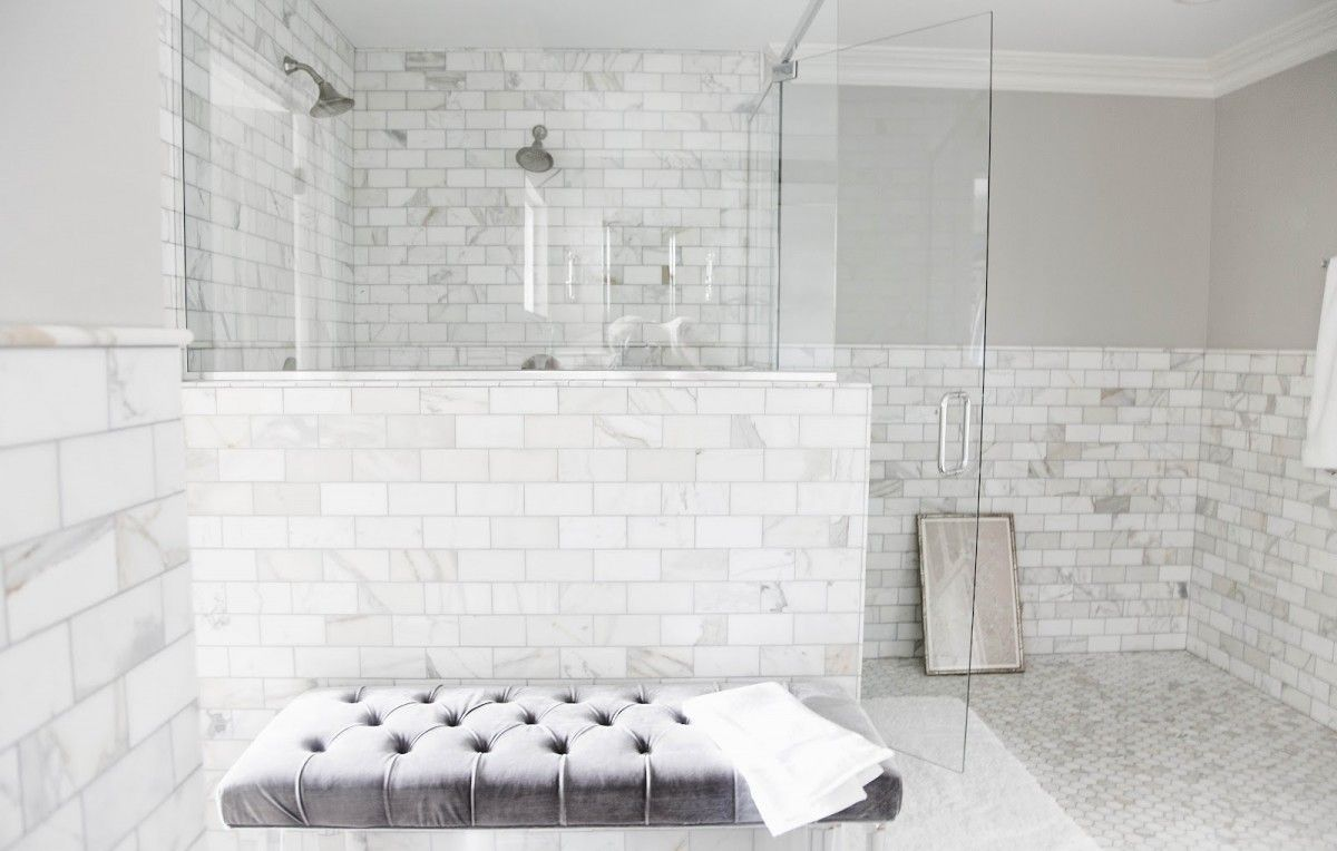endearing bathroom tile shower designs. white ceramic tiled shower stall mixed with half glass wall partition  combined rectangle tufted bench Captivating Shower Designs With Glass Tile Ideas Decoration Endearing Design using Rectangular Grey