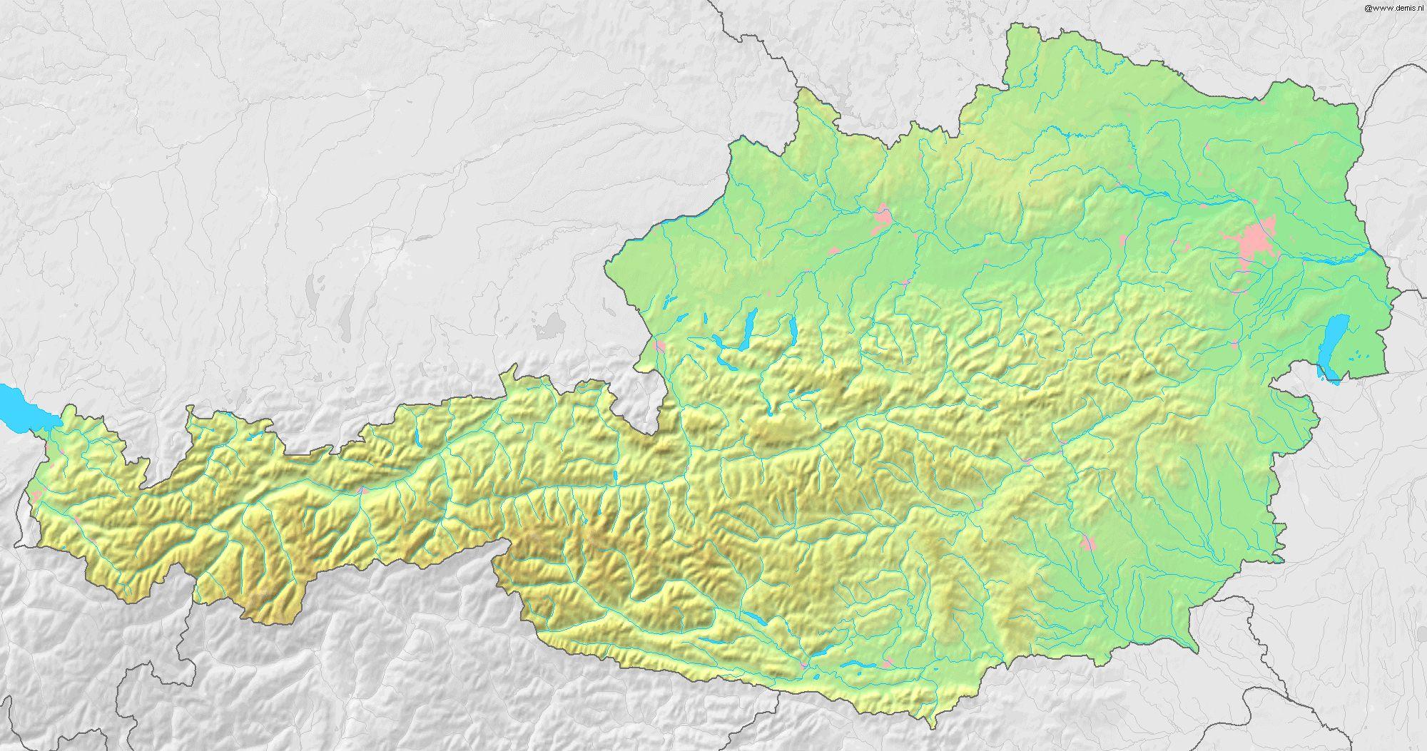 topographic map of austria Austria Topography Map Austria Detailed Topographic Map