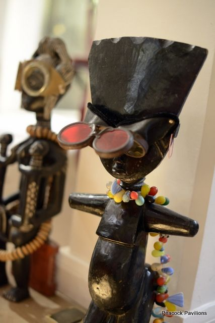 vintage African sculpt-- with modern goggles and beads