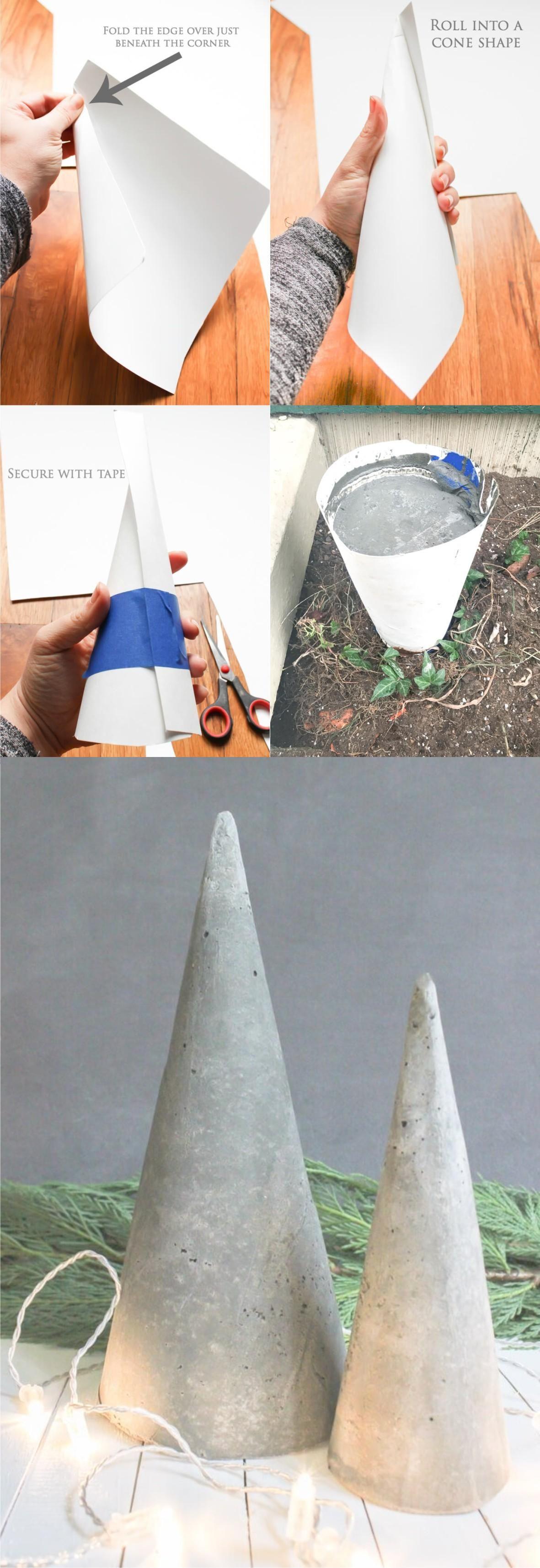 árbol De Navidad Con Cemento Wickedspatula Com Concreto Diy Artesanato Concretas Trabalhos Manuais Com Plástico