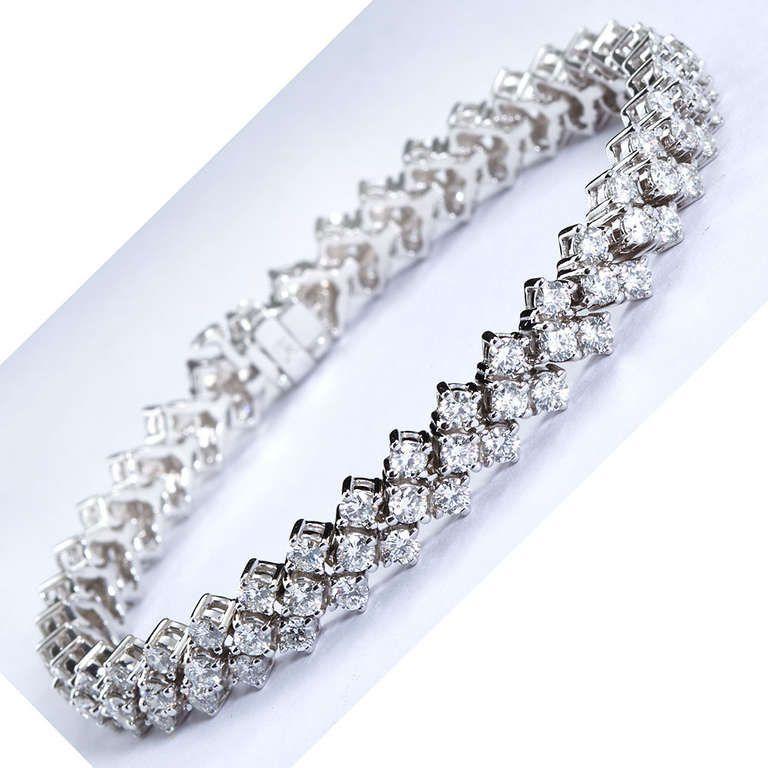 Three Row Diamond Tennis Bracelet Diamond Tennis Bracelet Diamond Wedding Bracelet
