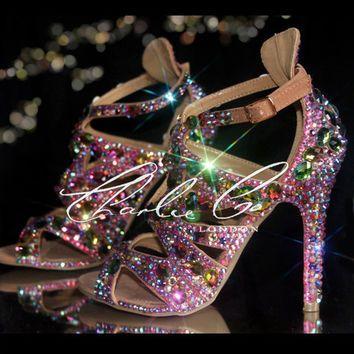 CHARLIE CO. Jungle Jewels pink peep toe Vitrail Swarovski strappy sandal high heels nude stiletto Designer