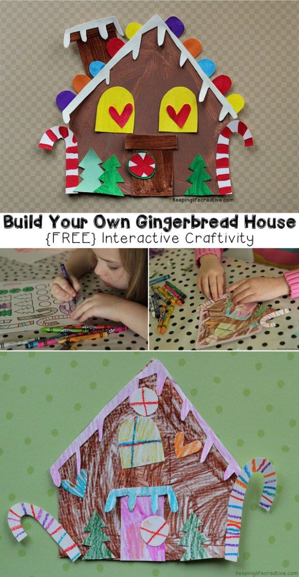 gingerbread house template kids  Printable Gingerbread House Craft | holiday crafts for kids ...