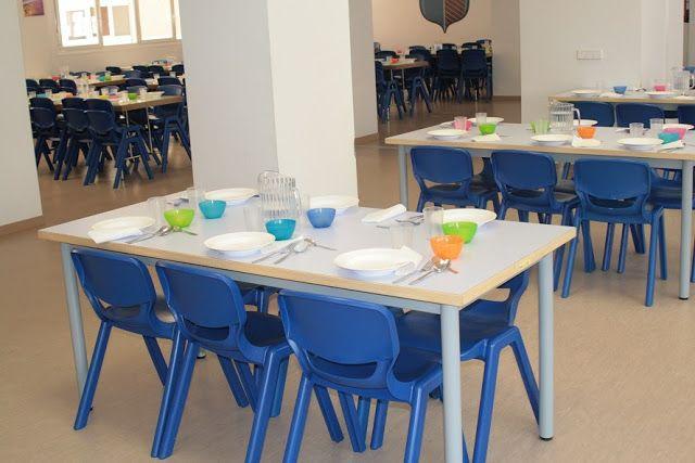 Mesas sillas y vajilla de comedor de singladura colegio for Sillas comedor amarillas