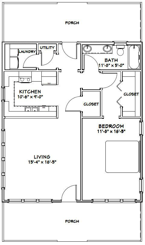 28x32 house 28x32h1b 895 sq ft excellent floor for Garage guest house plans