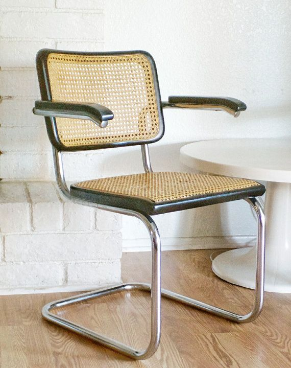 On Hold Vintage Mid Century Modern Marcel Breuer Thonet Chrome Plated Tubular Steel Black Varnished Wood Rattan Cantilever Chair