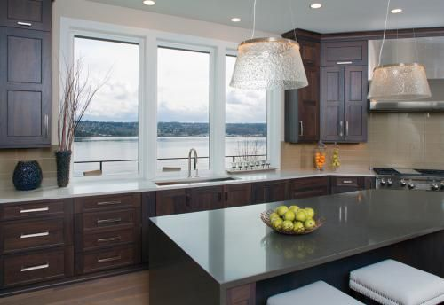 Bring In The Natural Light With Large Kitchen Windows Featuring Tuscany Series Mulled Triple Picture Wi Simple Kitchen Design Kitchen Interior Simple Kitchen