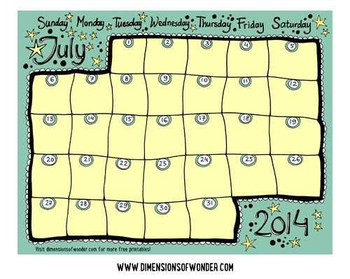 Free Printable Monthly Calendar July  Hand Drawn
