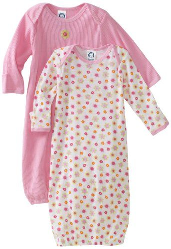 Gerber Baby Girls 2 Pack Gowns Kitty 0-6 Months