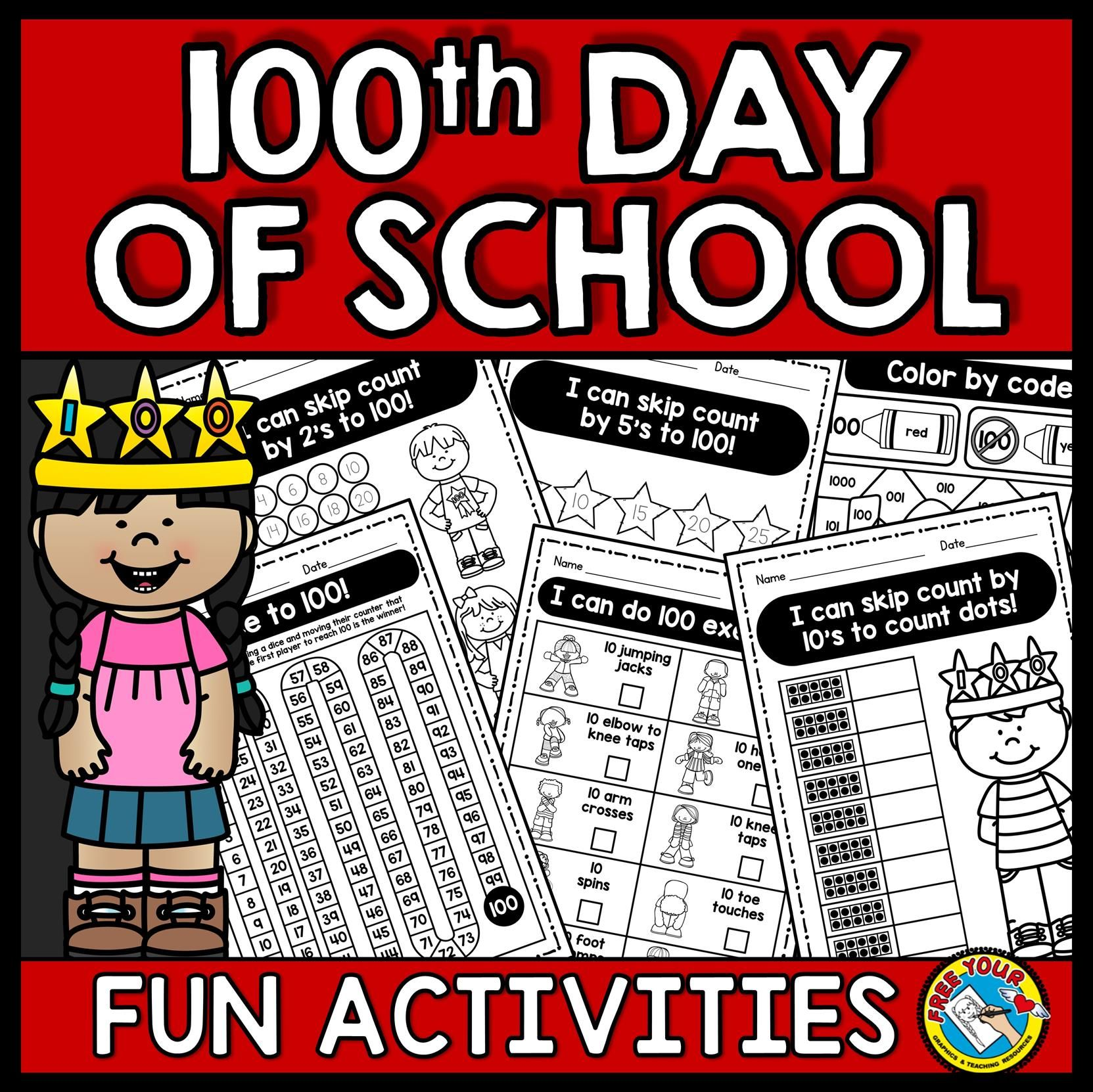100th Day Of School Activities Kindergarten Worksheets