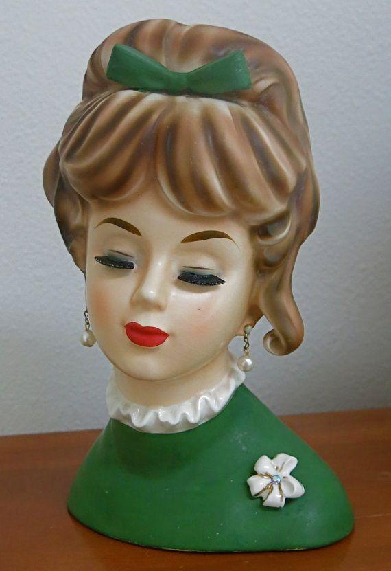 Napco C6986 Jumbo Vintage Lady Head Vase Headvase With Brooch
