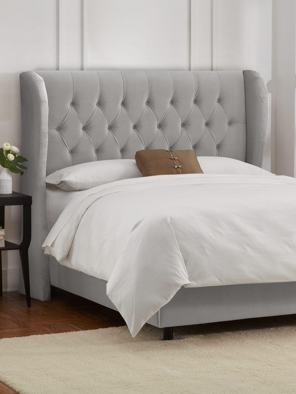 Tufted Wingback Bed in Velvet Light Grey - Gilt Home