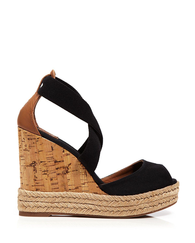 33e527b1f74 Tory Burch Peep Toe Canvas Platform Sandals - Cork Wedge Heel ...