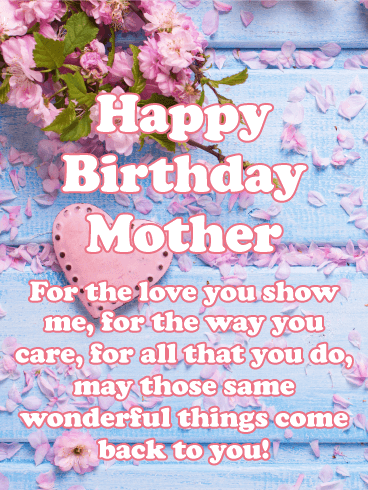Pink Heart Flower Happy Birthday Card For Mother Birthday Greeting Cards By Davia Happy Birthday Mom Quotes Happy Birthday Mother Birthday Wishes For Mother
