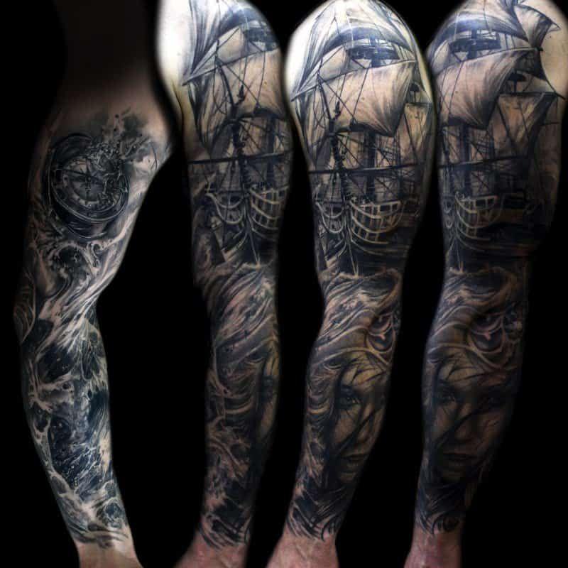 Sea Themed Sleeve Tattoo Ocean Sleeve Tattoos Sleeve Tattoos For Women Nautical Tattoo Sleeve