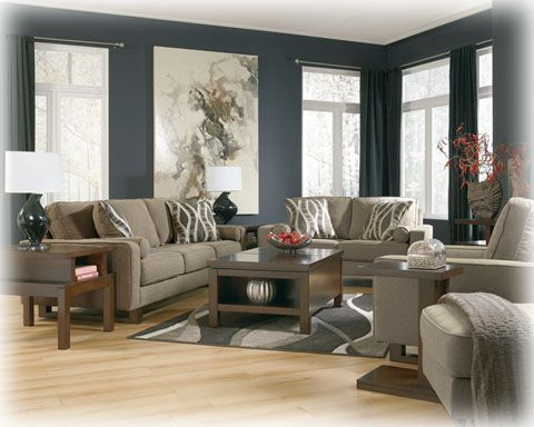 Contemporary Smoke Sofa Ashley Furniture 418 Living Room