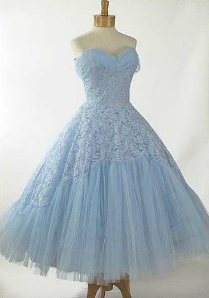 Light Blue Lace Tea Length Dress 1950 S Wedding Dress