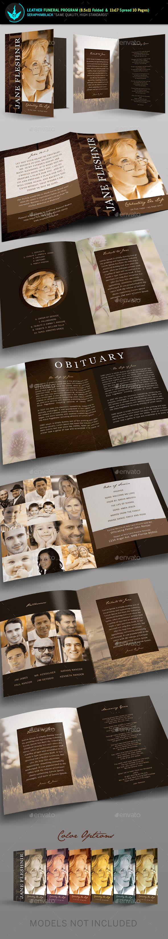 leather funeral program template chocolate color funeral and
