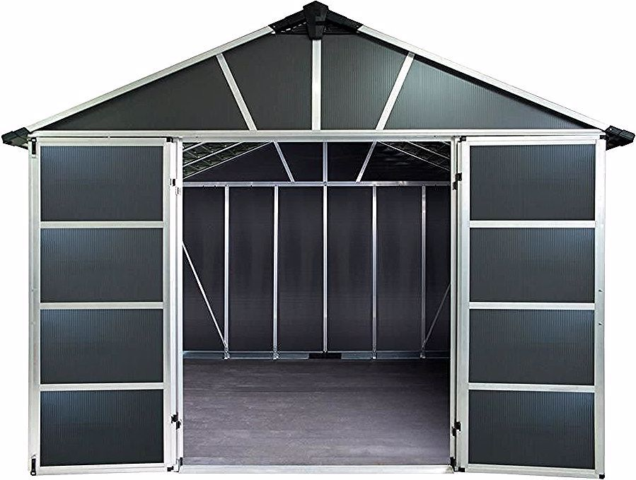 Palram Yukon 11 Ft W X 21 3 Ft D X 8 3 Ft H Dark Gray Storage Shed With Wpc Floor Kit Grays In 2020 Grey Storage Storage Shed Shed