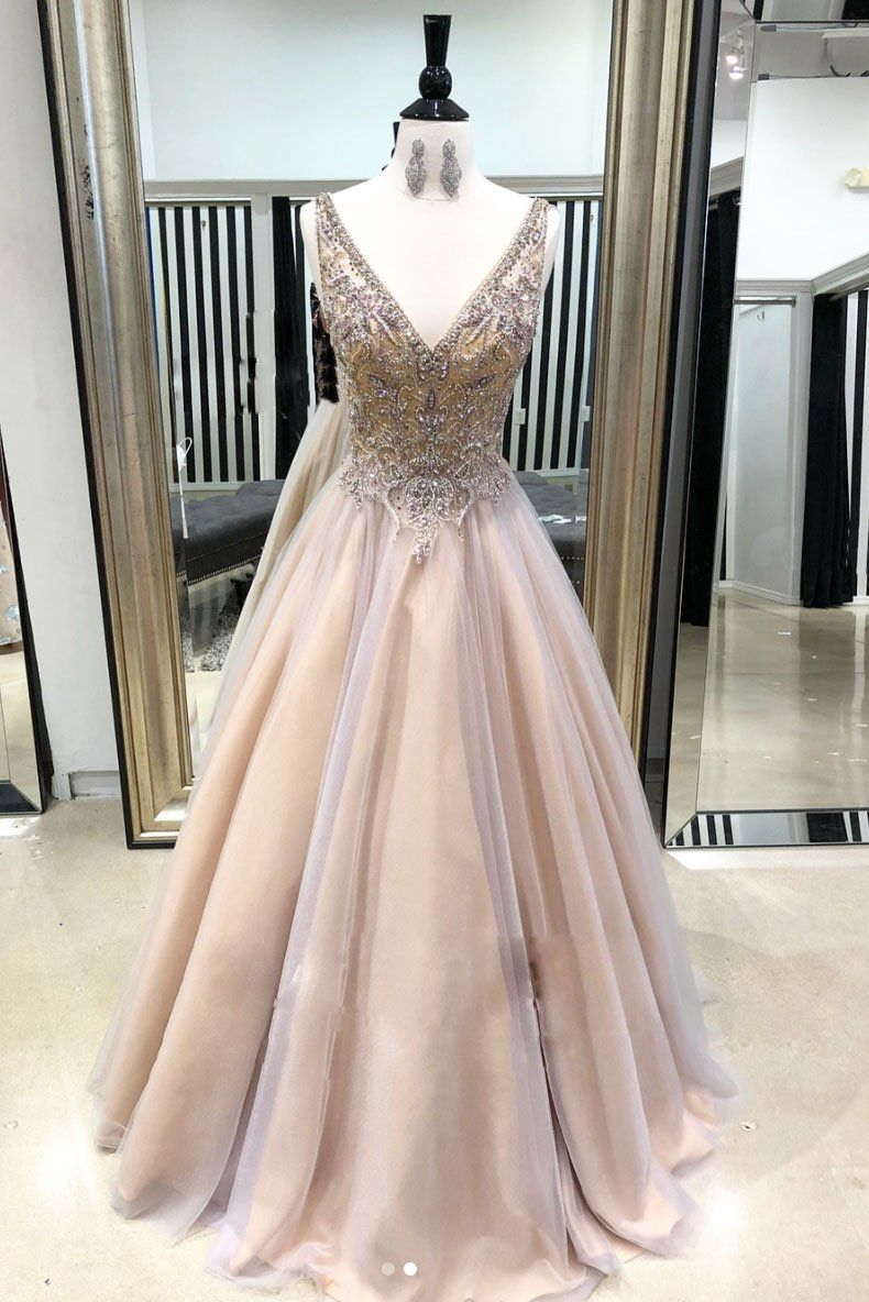 b6040fa952c6 Champagne v neck tulle long prom dress, champagne evening dress in ...