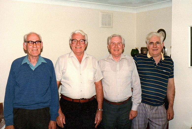 The four Knighton brothers, Ernie (1918-1986), Tom (1920-2009), Rowland (1922-1995) and Bill (1927-1989). They are the sons of Ernest Jabez Knighton (1890-1973) and Ethel Lily Robinson (1890-1932).  This photo was taken the last time the brothers all the brothers were together.