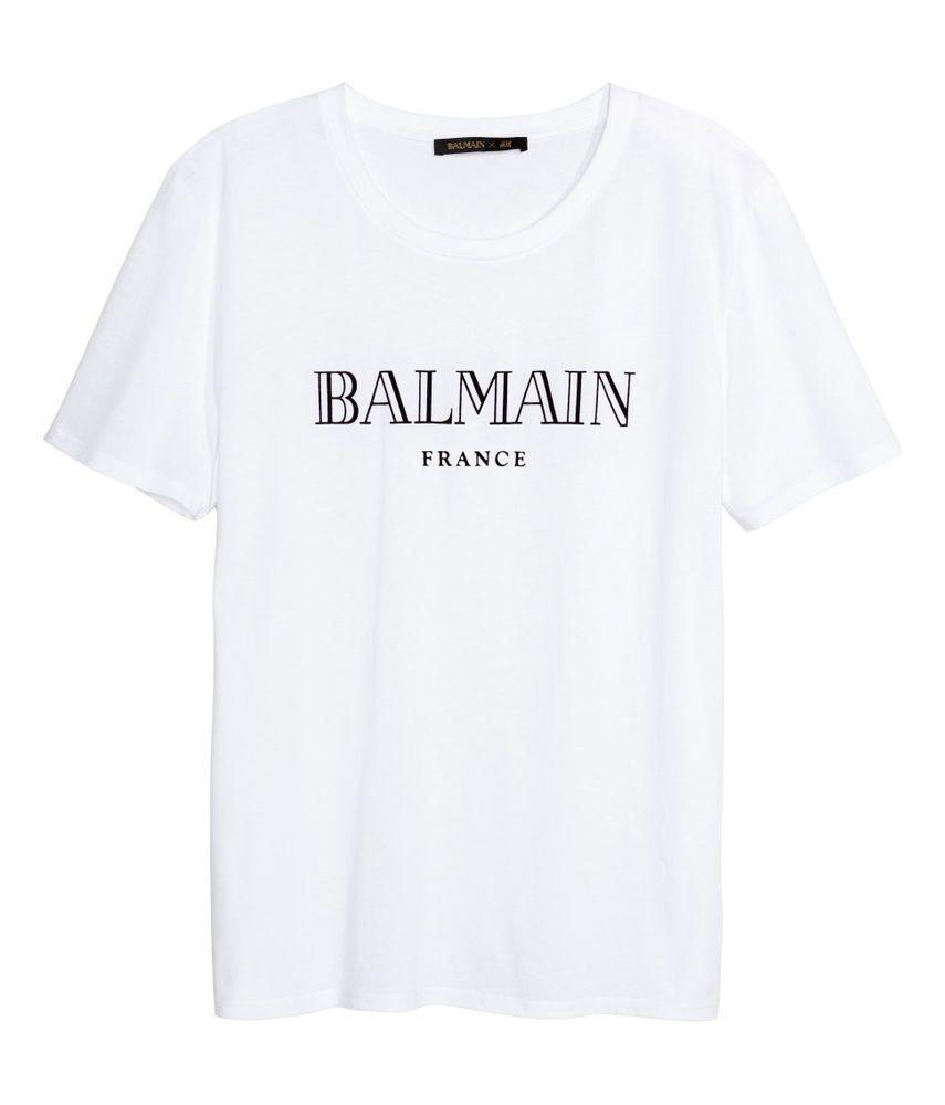 BALMAIN H&M MEN'S T SHIRT BALMAIN PARIS IN VELVET WHITE & BLACK XS, S,