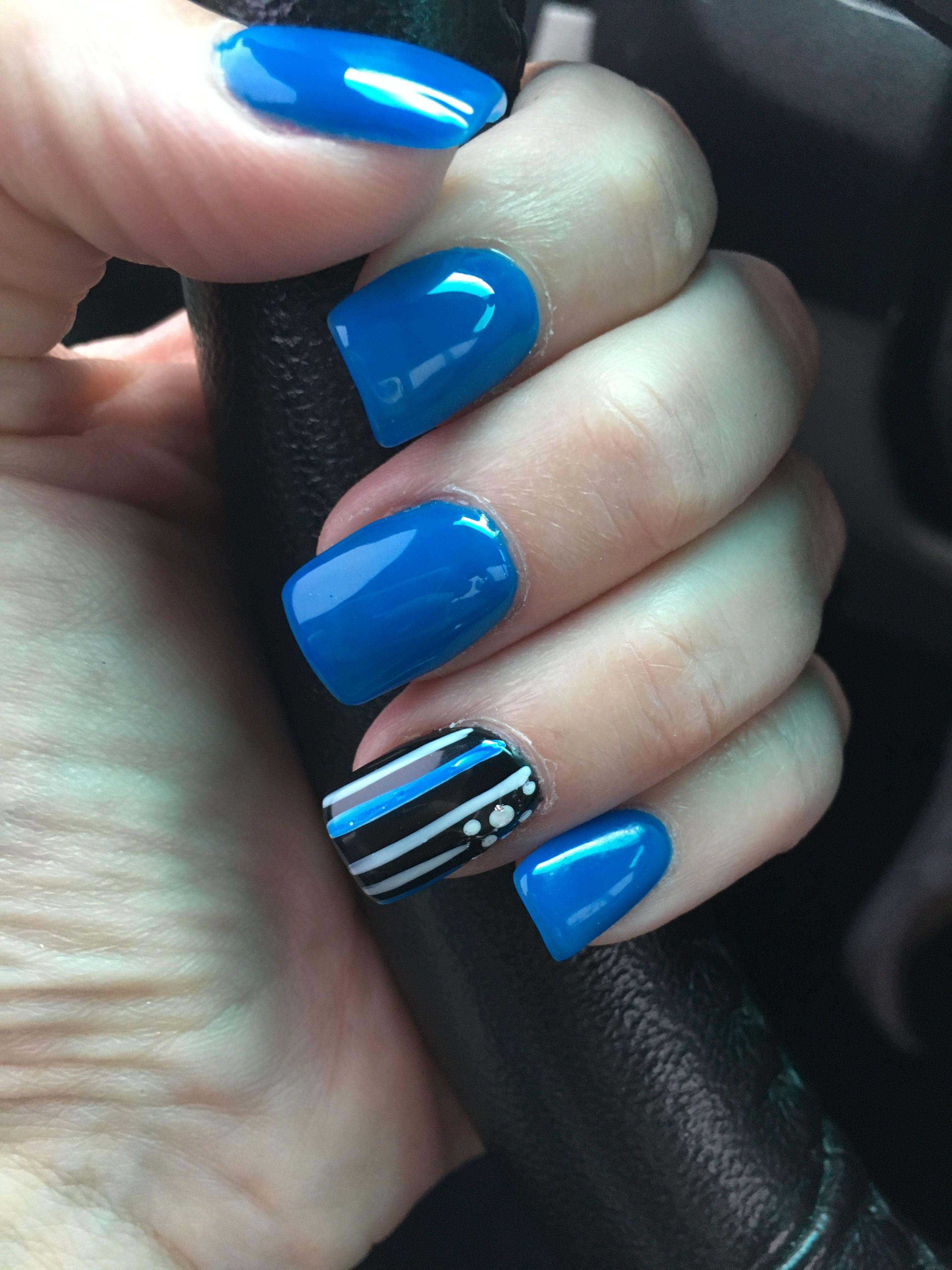 Thin Blue Line Nails : nails, Nails,, Enforcement, Lines, Designs,, Matte, Nails, Design