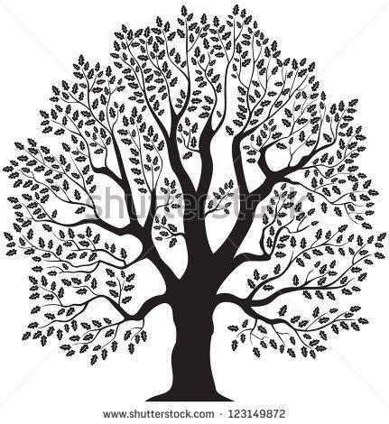 Oak Tree Vector Illustration Green Symbol