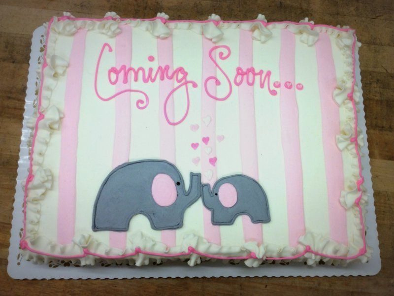 Baby Shower Sheet Cake With Elephants And Pink Stripes With