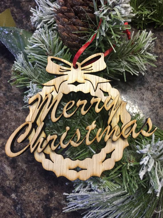 ornament merry christmas with wreath wooden laser cut out ornament unfinished layered wreath with merry christmas wood cut out ornament