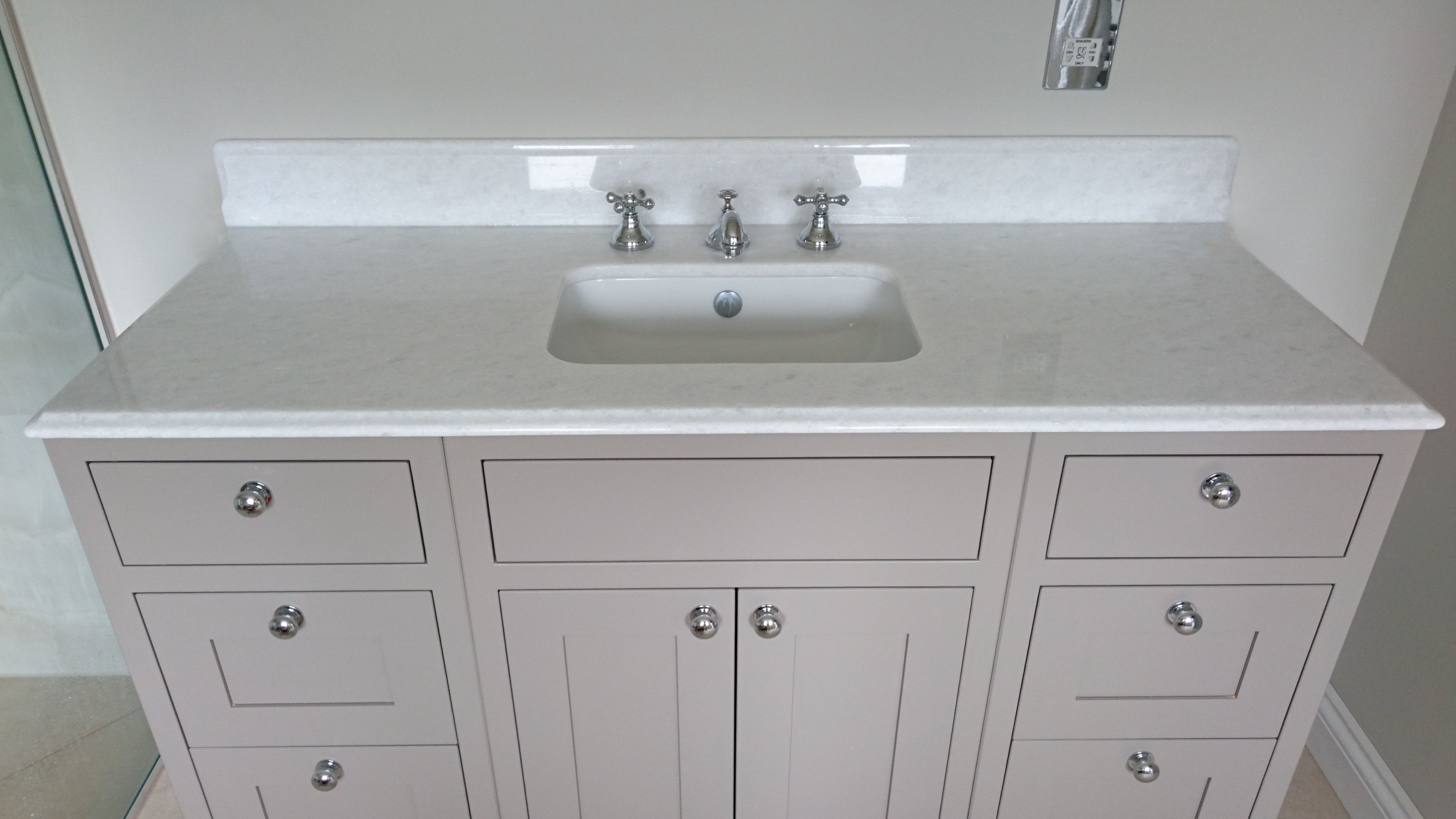 Bianco neve marble vanity and upstand stone of destiny fabricated and fitted